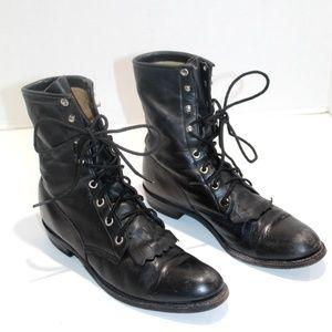 VTG Justin USA Black Leather L 620 Kiltie Boots